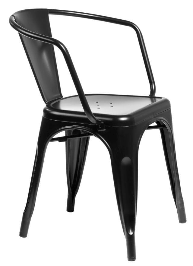 Krzesło Metalowe Czarne Z Podłokietnikami Inspirowane Tolix Warsaw